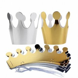 prince crowns Canada - 10Pcs Kids Adult Happy Birthday Paper Hats Cap Prince Princess Crown Party Decoration for boy girl 5Pcs Silver+5pcs gold Crown CmPn#