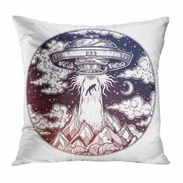 velvet chairs Canada - White Throw Pillow Cushion Cover Alien Spaceship Soft Velvet Square Cushion Case Couch Cover Pillowcase For Sofa Chair Bedroom nzHF#