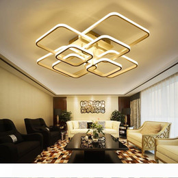 cool ceiling lights for home NZ - Square Circle Rings Ceiling Lamp For Living Room Bedroom Home AC85-265V Modern Led Ceiling Chandelier Light Fixtures