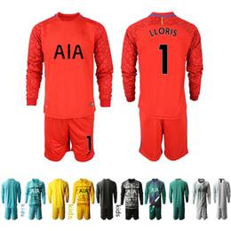 venda por atacado Crianças manga comprida Soccer Jersey Childrens Goleiro Futebol kit jérsei Lloris Tottenham crianças sets KIT Casa Fora uniformes 2020 2021