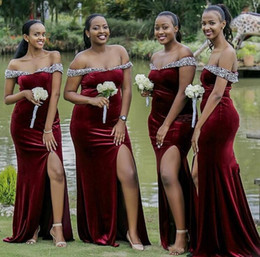 sexy african wedding dresses UK - Sexy Burgundy Velvet Mermaid Bridesmaid Dresses African Off the Shoudler Beaded Plus Size Wedding Guest Dresses Side Split