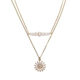 gold sunflower pendant NZ - Pendant Necklaces of Sunflower Pendant Crystal Layered Choker Necklace Hot Sale for Women Girls Party Wedding