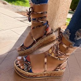 shoelace printing Canada - Hot Sale- New Wedges heels Shoelaces Snake Printed Summer INS Hot Shoes Women Sandals