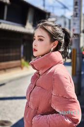 Wholesale women s dress fabrics resale online - Fashion special offer Fashion Women Down Jacket Pink Velour Fabric Winter M Brand Stand Collar Women Dress Down Coat