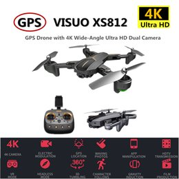 red black helicopter UK - VISUO XS812 RC GPS Drone 4K HD Camera 5G WIFI Altitude Hold Quadcopter with Camera Helicopter VS SJRC Z5 F11 SG906 Dron