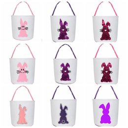 storage basket baby Canada - Easter Sequin Basket Cute Rabbit Printed Kid Candy Basket Baby Home Toy Storage Bags Holiday Party Bags WY507