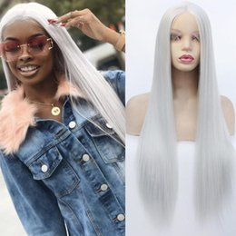 synthetics 16 inch wigs hair Australia - Sliver Grey Long Straight Hair Synthetic Lace Front Wig Restyleable Synthetic Hair Heat Resistant Fiber Synthetic Wigs for Women Free Part