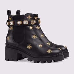 shoes liner NZ - Ting2594 020018280 New Embroidery Bee Booties Riding Rain Boot Boots Booties Sneakers Dress Shoes