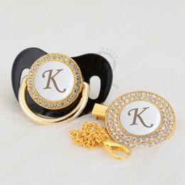 MIYOCAR bling white name Initials letter K pacifier and pacifier clip set BPA free safe lovely bling gold dummy LK-W vqOI#