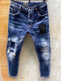 ingrosso jeans bici-20SS Brand Fashion Designer Jeans Mens Denim Jeans Black Strappato Pantaloni Fashion Skinny Broky Bike Motorcycle Rock Revival Jean Q563