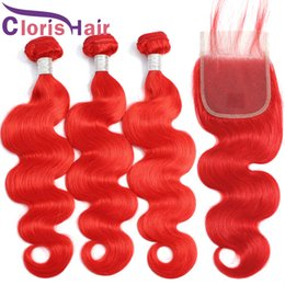 red weave hair 4pcs 2020 - Malaysian Virgin Human Hair 3 Bundles With Closure Red Colored Body Wave Hair Weaves Closure 4pcs Full Wavy Extensions A