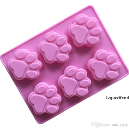 silicone soap mould maker UK - Cat Paw Print Bakeware Silicone Mould Bear Chocolate Paw Mold Cookie Candy Soap Resin Wax Mold DIY Cake Decorating Tools lin4887