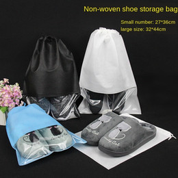 sack shoes UK - Shoe shoes Viewing window non-woven drawstring sack dust new Non-woven Storage bag storage bag shou kou dai can be printed