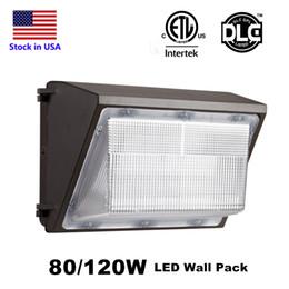 DLC ETL Listed IP65 120W 80W LED Wall pacchetto della luce della lampada esterna principale della parete montato lampada luce equivalente 400W lampada Wallpack tradizionale in Offerta
