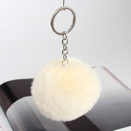 Discount handbag anchor Solid Color Imitate Rabbit Fur Ball Keychain Pom Pom Car Keychain Handbag Key Ring 3.15 Inch Fluffy Faux Rabbit Fur