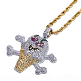 necklace jewlery UK - Cartoon Ice Cream Pendant Hip Hop Necklace Ice Out 24K Gold Plated Bling Cubic Zirconia Hiphop Jewlery For Men