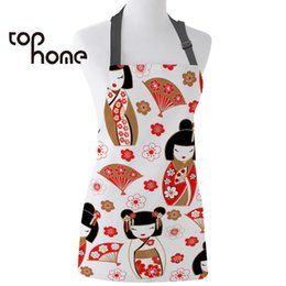 clean doll Australia - Tophome Kitchen Apron Japanese Style Doll Printed Adjustable Sleeveless Canvas Aprons for Men Women Kids Home Cleaning Tools