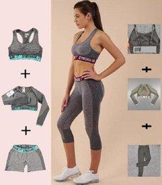 Wholesale woman long sleeve denim jumpsuit resale online – Womens Designer Grils Yoga Suit Sleeve Long Pants Shorts Bra Bust Sportwear Tracksuits Fitness Jumpsuit Sport Clothes Gymshark Print Letter