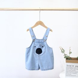 hot pants korean style summer Canada - Hot sale clothing 2020 Summer Children's pants Korean style girls Children's wear belt shorts belt' cute bear denim belt pants shorts