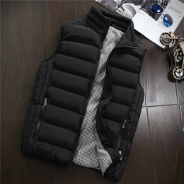 Wholesale vest mens resale online - 2020 New Vests Men Brand Mens Sleeveless Jacket Cotton Padded Men s Vest Autumn Winter Casual Coats Male Waistcoat XL