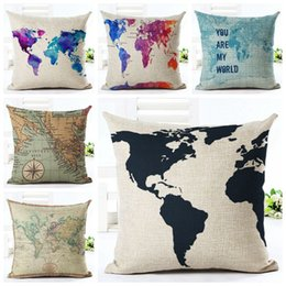 maps decorative UK - vintage world map cushion cover decorative colorful chaise chair throw pillow case linen fabric almofadas 45cm cojines