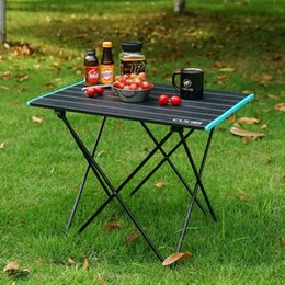 lightweight portable chairs NZ - Lightweight Outdoor Aluminum Alloy Folding Table Camping Portable Picnic Barbecue Table Camping Aluminum Sheet Patio Table And Chairs HGiO#