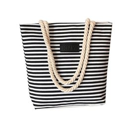 big size fashion handbags UK - Handbag For Women Big Size Tote Ladies Casual 4Colors Stripe Pattern Canvas Traveling Beach Shoulder Bag Dropship Aug.17
