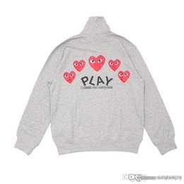 Wholesale little red hearts for sale – halloween Best Quality Com DES play GARCONS CDG HOLIDAY Heart New Unisex Casual Little Red Heart Pullover Zipper Sweatshirts Hoodies Coat C058F Gray