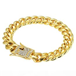 mens gold curb chain bracelet NZ - R 14mm Mens Bracelets 18k Gold Silver Plated Tone Stainless Steel Chain Bracelet Curb Cuban Link Bracelet With Diamond Keylock Hip Hop