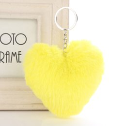 white rabbit accessories UK - Pom Pom Keychain Soft Solid Color Heart Shape Pompom Faux Rabbit Fur Ball Car Handbag Key Ring Gift Accessories Free Shipping