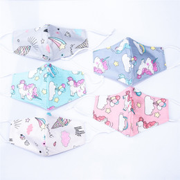 unicorn ears NZ - Kawaii Unicorn Ice Cream Cartoon Cotton Designer Face Masks Comfortable Ear loop Anime Mouth Mask Anti Dust Washable Facial Cover FY0053
