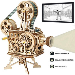 children kits NZ - Robotime DIY Real Film Projector Wooden Model Building Kits 3D Wooden Puzzle Gift Toys for Children LK601 Factory Direct Sales Y200317