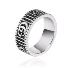 gear couplings NZ - 2020 925 sterling silver double G ring retro gear stripe couple ring ring