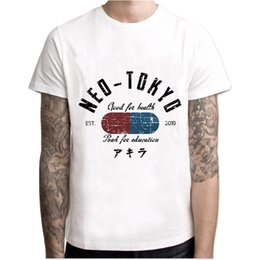motorcycle racing t shirts UK - Akira T Shirt Neo Tokyo Street Race Men Novelty Men Shirt Cotton Japanese Anime Motorcycle Party Cool White Tshirt
