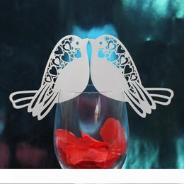 white bird decorations UK - Elegant Hollow Out Bird Table Mark Wine Glass Cards Paper Name Place Wedding Party Table Decoration Card Holiday Festive Party Supplies