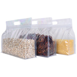 designer transparent bags NZ - 50pcs lot Multi-size Hand-held Wide Open Transparent Eight-side Seal Zip Lock Stand-Up Pouches Reusable Food Bag for Snack Nut Packaging