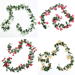 craft plastic flowers NZ - Rose Simulations Artificials Flower Plastic Rattan Silk Flower Suspended Ceiling Wedding Birthday Hotel Party Pretty Craft Supplies 10mh E2