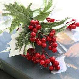 red berry wholesale UK - LIN MAN Red artificial Berry Home Decor Artificial Flowers Christmas colorful Artificial Berries New Arrival Free Shipping