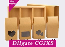 wholesale glossy gift bags Canada - Stand Up Kraft Paper Boxes 16*8cm Cookies Nuts Gift Packaging Bags With Heart Shape Clear Window Pocket