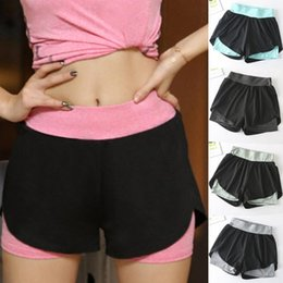 ladies gym pants wholesale UK - Yoga Shorts Women Fitness Elastic Sports Pants Trousers Elastic Running Workout Short Leggings For Ladies Gym Sport Shorts L713