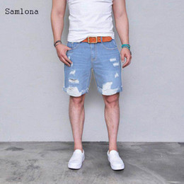men hip hop new fashion trends NZ - Summer New Fashion Hip Hop Shorts Jeans Men Straight Casual Trend All-match Classic Light Blue Distressed Hole Denim Shorts