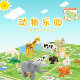 cognitive blocks NZ - 14pcs Children DIY cognitive educational toy Funny animal park scene with large grain building blocks for kids intelligence creative gift 01