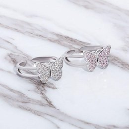 pink butterfly ring NZ - New White Gold Plated Bling Pink Cubic Zirconia Butterfly Womens Open Cuff Ring Band CZ Diamond Finger Rings Rapper Jewelry Gifts for Ladies