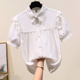 shirt korean designs UK - Summer 2020 new Korean style French women's design sense niche temperament ruffled bubble white white shirt short-sleeved shirt
