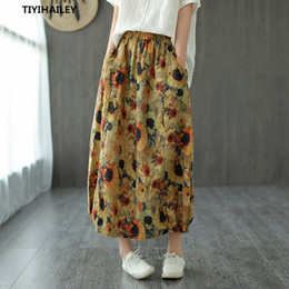 Wholesale spring long skirts for women resale online - TIYIHAILEY Long Maxi A line Skirts For Women Elastic Waist Autumn And Spring Summer Linen Flower Print Skirts