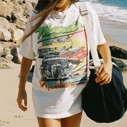 Wholesale chic t shirts online – design Summer Vintage Graphic Tees New Print Female O Neck Short Sleeve Cotton Tshirt Chic Harajuku Casual Oversized Women T Shirt