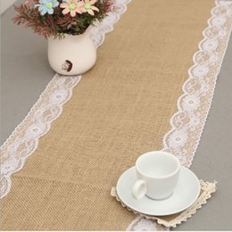 wholesale vintage linens Canada - 30*275cm 4colors Vintage Natural Burlap Jute Linen Table Runner Lace Cloth For Dinning Room Restaurant Table Gadget Home wedding Decoration