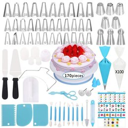 decorating tools Canada - 170PCS Set Cake Decorating Tools Kit Turntable Pastry Nozzles For Cream Confectionery Bags Icing Piping Nozzles Tips Baking Tool