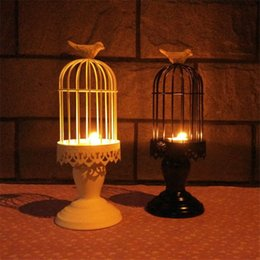 metal iron holder Canada - 1 PC Black White Color Tea Light Candle Holder Tall Large Bird Cage Europe Style Home Decorations Metal Iron Tealight Holders