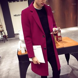 Wholesale mens black pea coats for sale - Group buy Winter Men Cashmere Overcoat Single Breasted Slim Coat Solid Thick Casual Trench Pea Coat For Men Navy Mens Gothic Clothing T1941